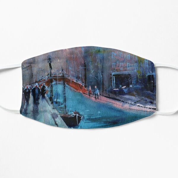 Venice - Boats and Buildings (Campo San Barnaba) in Watercolor Flat Mask