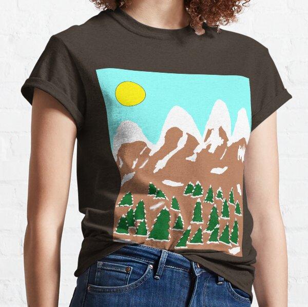 Trees Mountain Snow Green Brown White Sun Classic T-Shirt