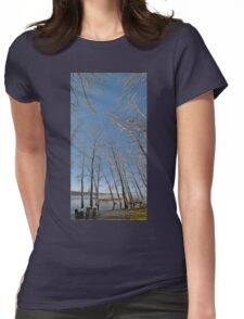 river water trees snow Womens Fitted T-Shirt