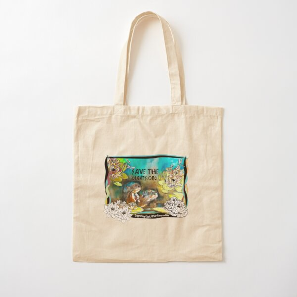 Giant Otters and Lillies Cotton Tote Bag