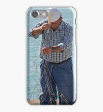 Mending the nets, Port of Sciacca, Sicily iPhone Case/Skin