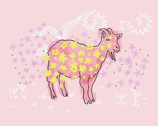 Goat rolled on flower garden  by feedyourwife