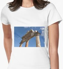 Ancient Pompeii Broken Treasures - A Skyward View of a Classical Corinthian Colonnade Right Womens Fitted T-Shirt