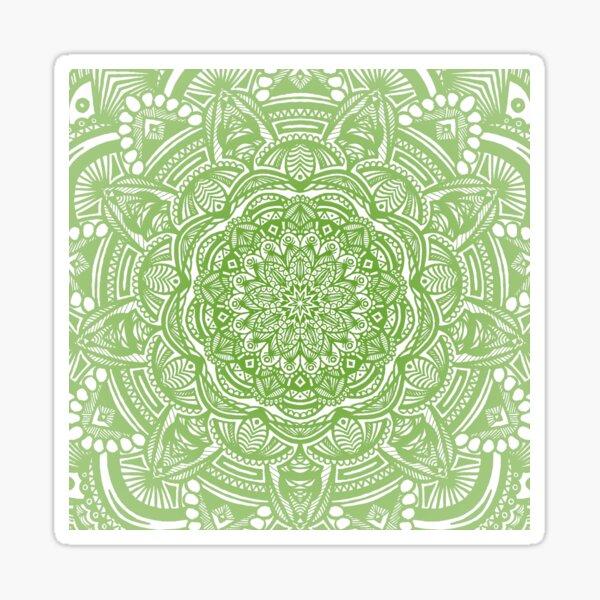 Green Mandala Design // Ethnic Tribal Aztec Detailed Textured Mandala Pattern Sticker