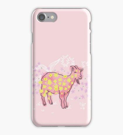 Goat rolled on flower garden  iPhone Case/Skin