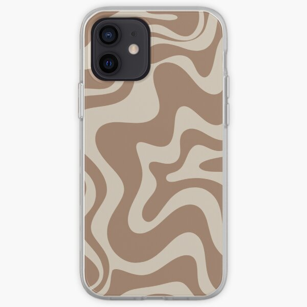 Liquid Swirl Abstract Pattern in Creamy Milk Chocolate Brown iPhone Soft Case
