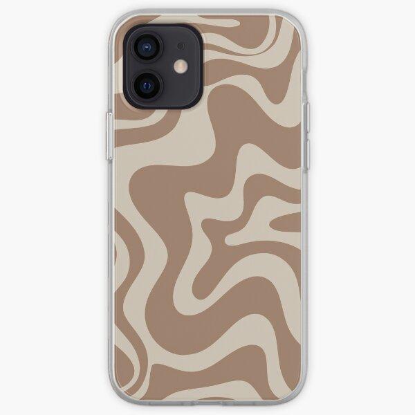 Flüssiges Wirbel-Abstrakt-Muster in cremigem Milchschokoladenbraun iPhone Flexible Hülle