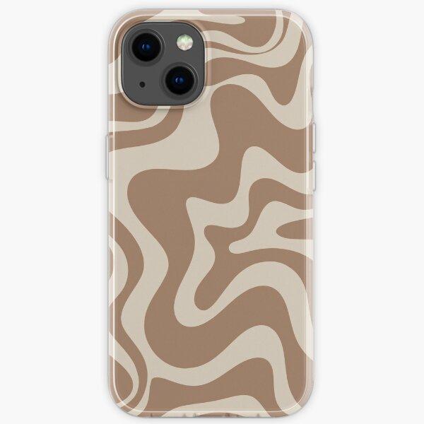 Liquid Swirl Abstract Pattern in Creamy Milk Chocolate Brown iPhone Soft Case