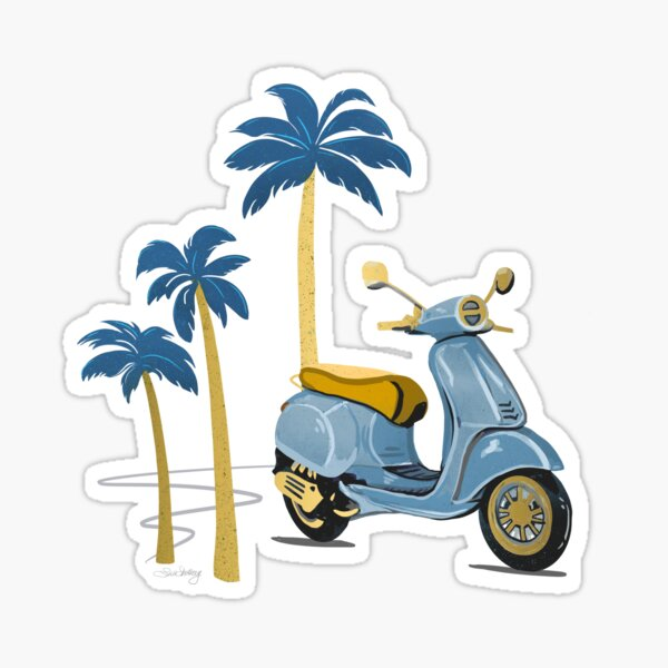 Vespa and Palm Trees - Steal Blue and Gold by Linda Sholberg Sticker