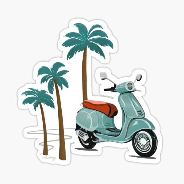 Vespa and Palm Trees - Sage Green and Gold by Linda Sholberg Sticker
