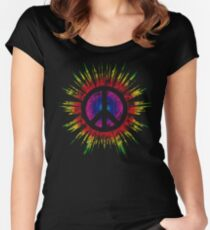 Tie Dye Peace Sign Fitted Scoop T-Shirt