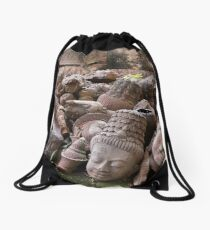 Lost Heads in the Terracotta Museum in Chiang Mai Drawstring Bag