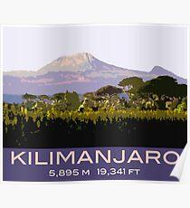Mount Kilimanjaro Souvenir Design, in Vintage Travel Poster Style Poster