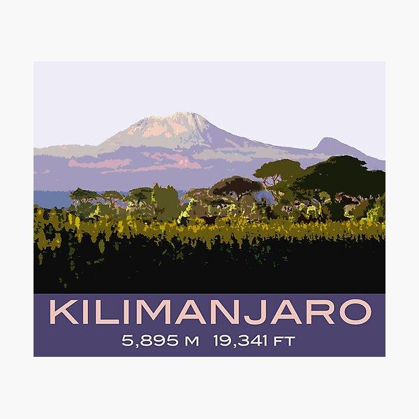 Mount Kilimanjaro Souvenir Design, in Vintage Travel Poster Style Photographic Print