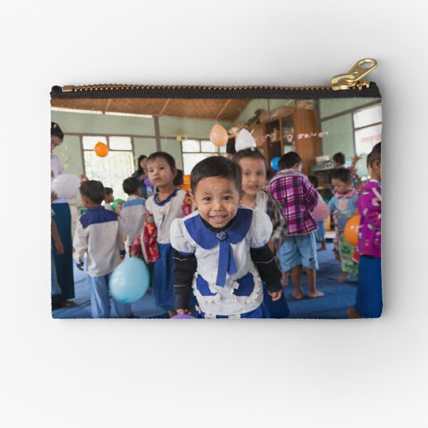 Preschoolers playing with Balloons in Myanmar Zipper Pouch