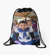 Preschoolers playing with Balloons in Myanmar Drawstring Bag