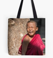Laughing young monk in Myanmar Tote Bag