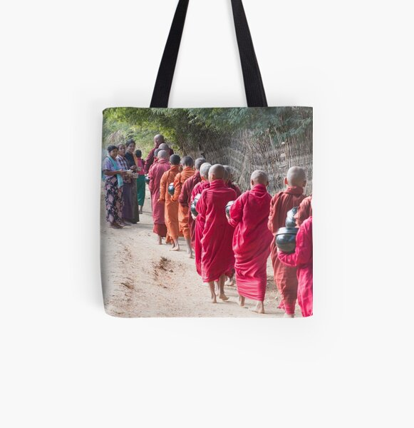 Each Morning Food Donation Ceremony in Myanmar All Over Print Tote Bag