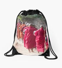 Each Morning Food Donation Ceremony in Myanmar Drawstring Bag