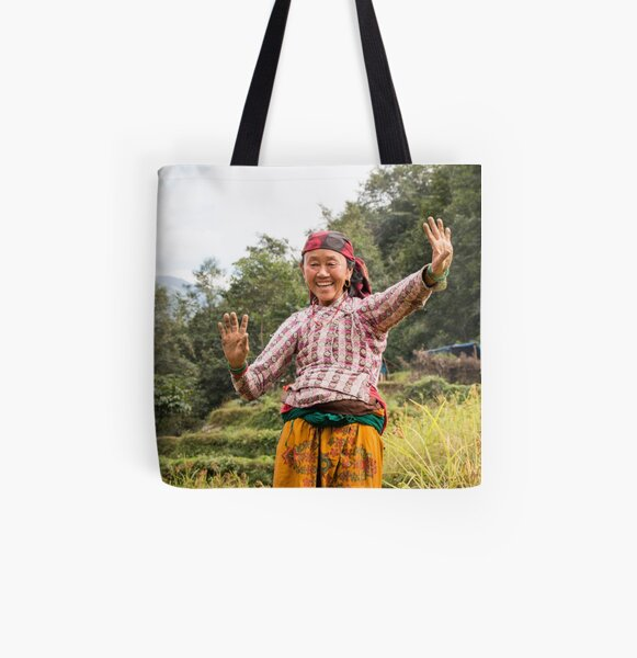 Lovely Aunty Dancing in Gyachchok (Gorkha district) All Over Print Tote Bag