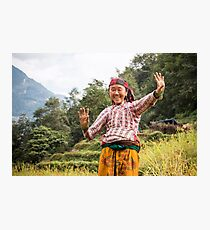 Lovely Aunty Dancing in Gyachchok (Gorkha district) Photographic Print