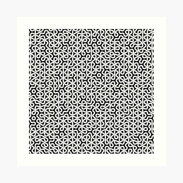 Abstract White Hexagon Truchet Tiles #2 Art Print