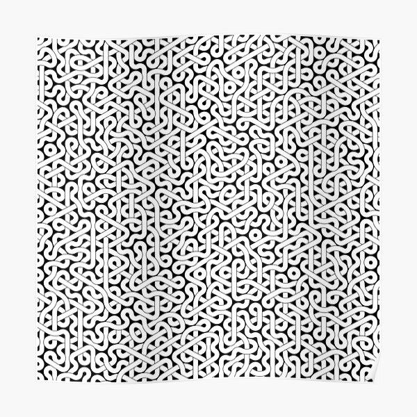 Abstract White Hexagon Truchet Tiles #3 Poster