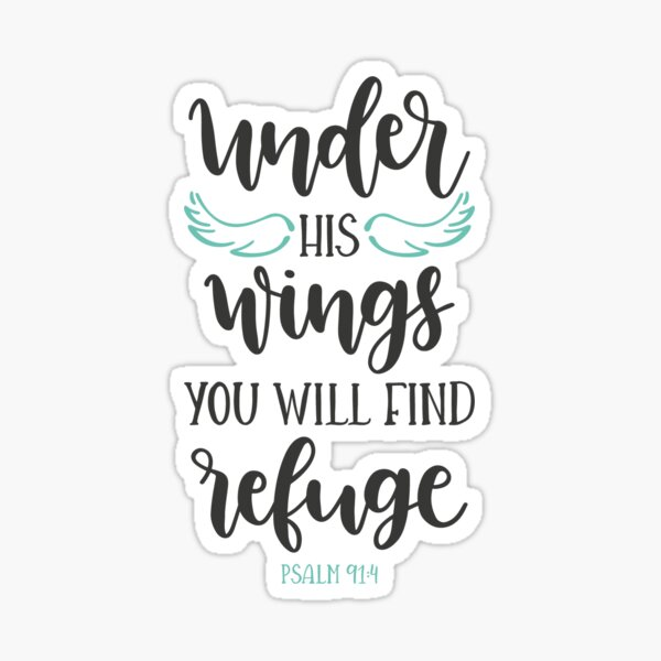 Under his wings you will find refuge Sticker