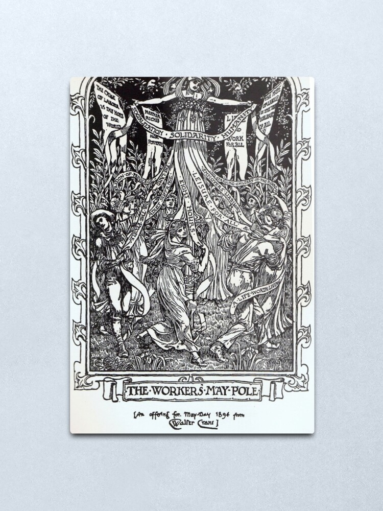 Alternate view of Walter Crane illustration:  The Workers May Pole - May Day Beltane Ritual   Metal Print