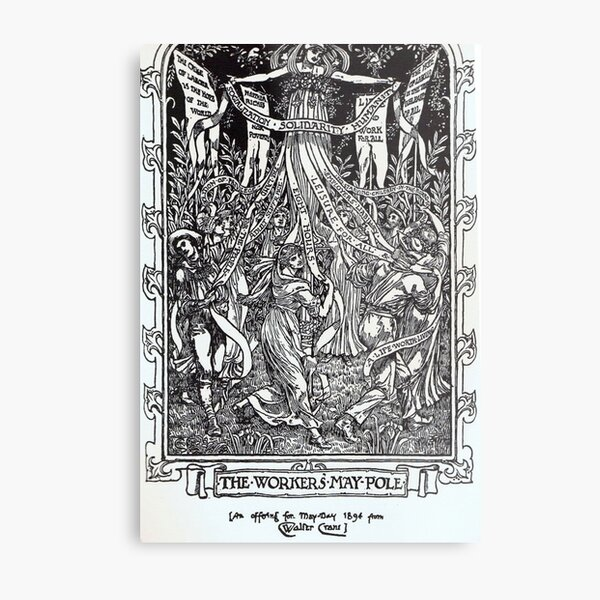 Walter Crane illustration:  The Workers May Pole - May Day Beltane Ritual   Metal Print