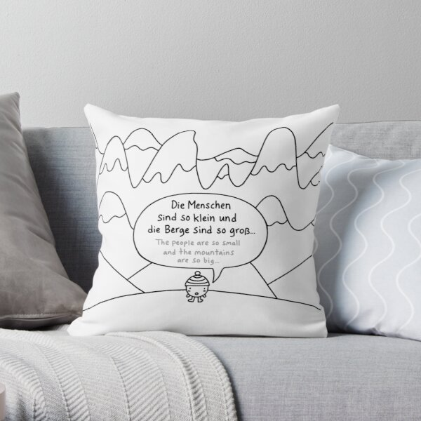 People small, mountains big / Menschen klein, Berge groß Throw Pillow