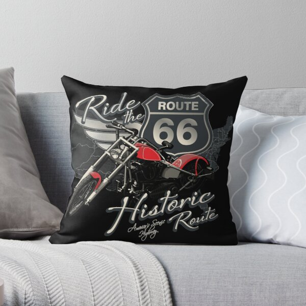 Travel - Motorcycle Ride the historic route 66 Throw Pillow
