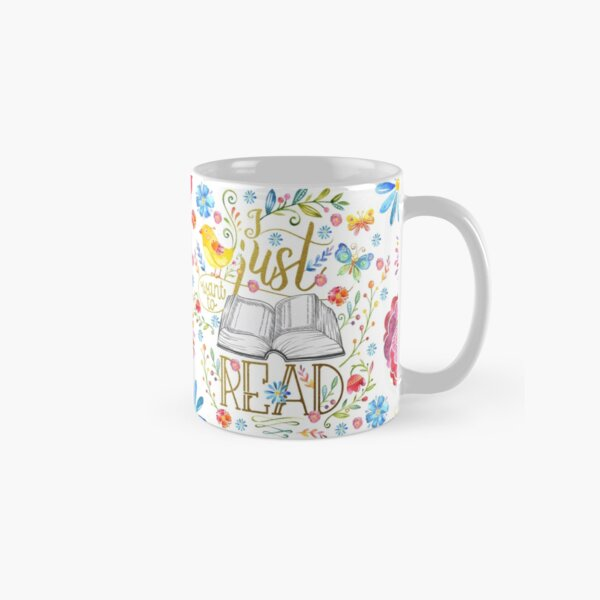I Just Want To Read - White Floral Classic Mug
