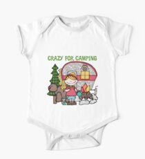 Blond Girl Crazy For Camping Vacations One Piece - Short Sleeve