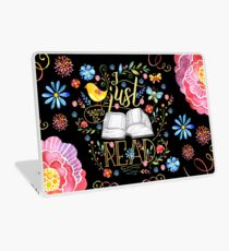 I Just Want To Read - Black Floral Laptop Skin