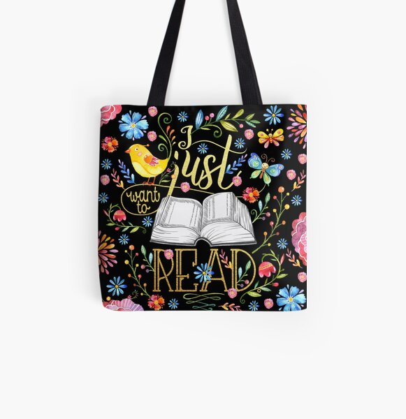 I Just Want To Read - Black Floral All Over Print Tote Bag