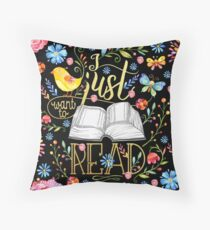 I Just Want To Read - Black Floral Throw Pillow