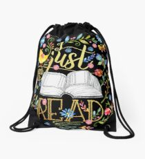 I Just Want To Read - Black Floral Drawstring Bag
