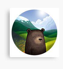 Cute bear in the wilderness Canvas Print