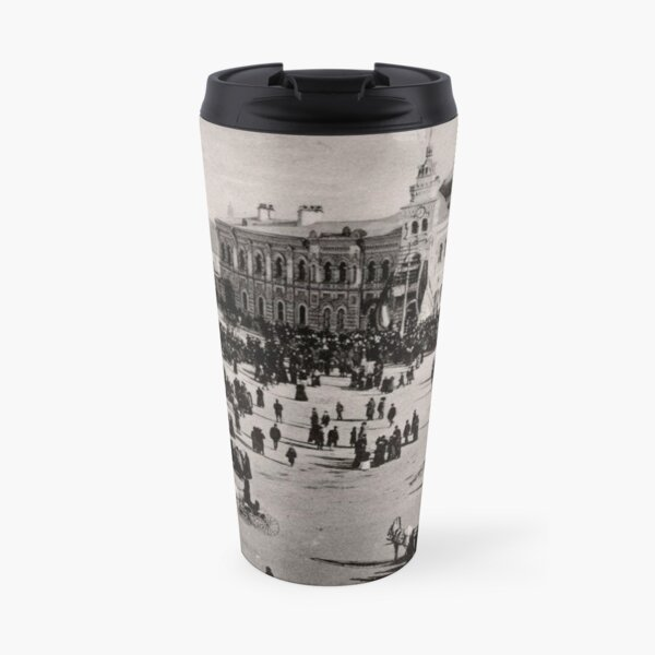 Ancient photography: city, square, people. Старый Благовещенск Travel Mug