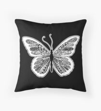 Tangled Butterfly Doodle Art Design Throw Pillow