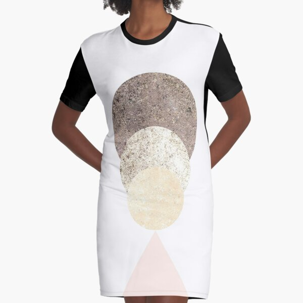 Geometric Moon color scaled Graphic T-Shirt Dress