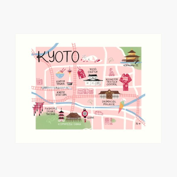 Kyoto Illustrated Map, City in Japan Art Print