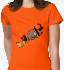 Witch Sloth on Broomstick Womens Fitted T-Shirt
