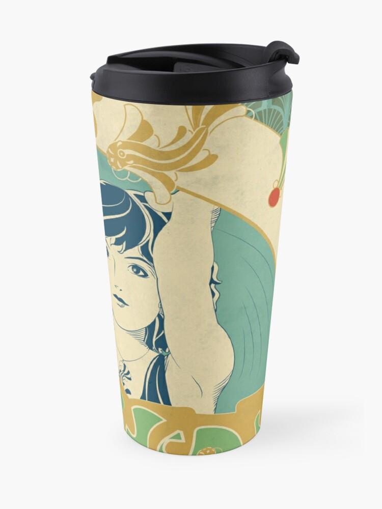 Mug isotherme ''Parure Poisson bleu - Illustration Art Nouveau': autre vue