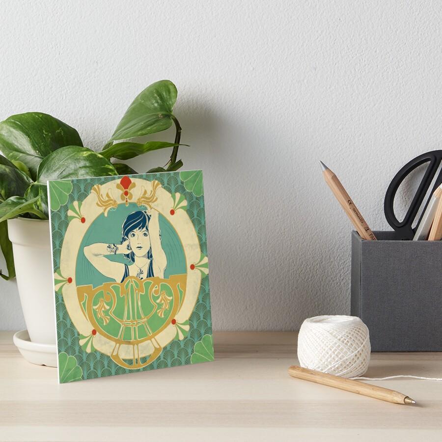 Impression rigide «Parure Poisson bleu - Illustration Art Nouveau»