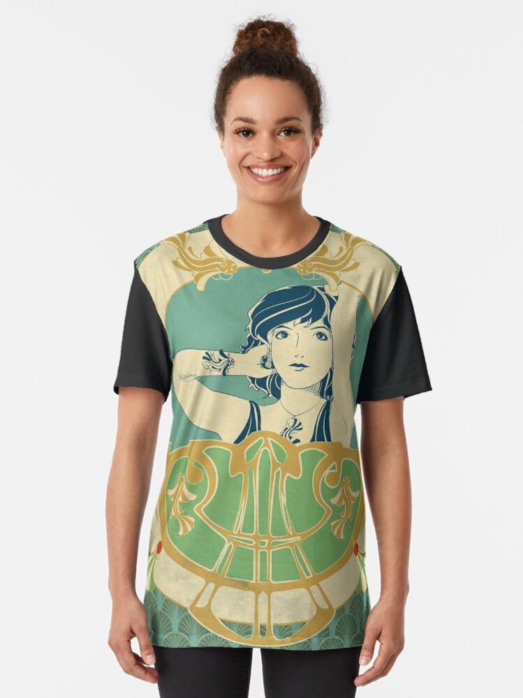 T-shirt graphique ''Parure Poisson bleu - Illustration Art Nouveau': autre vue