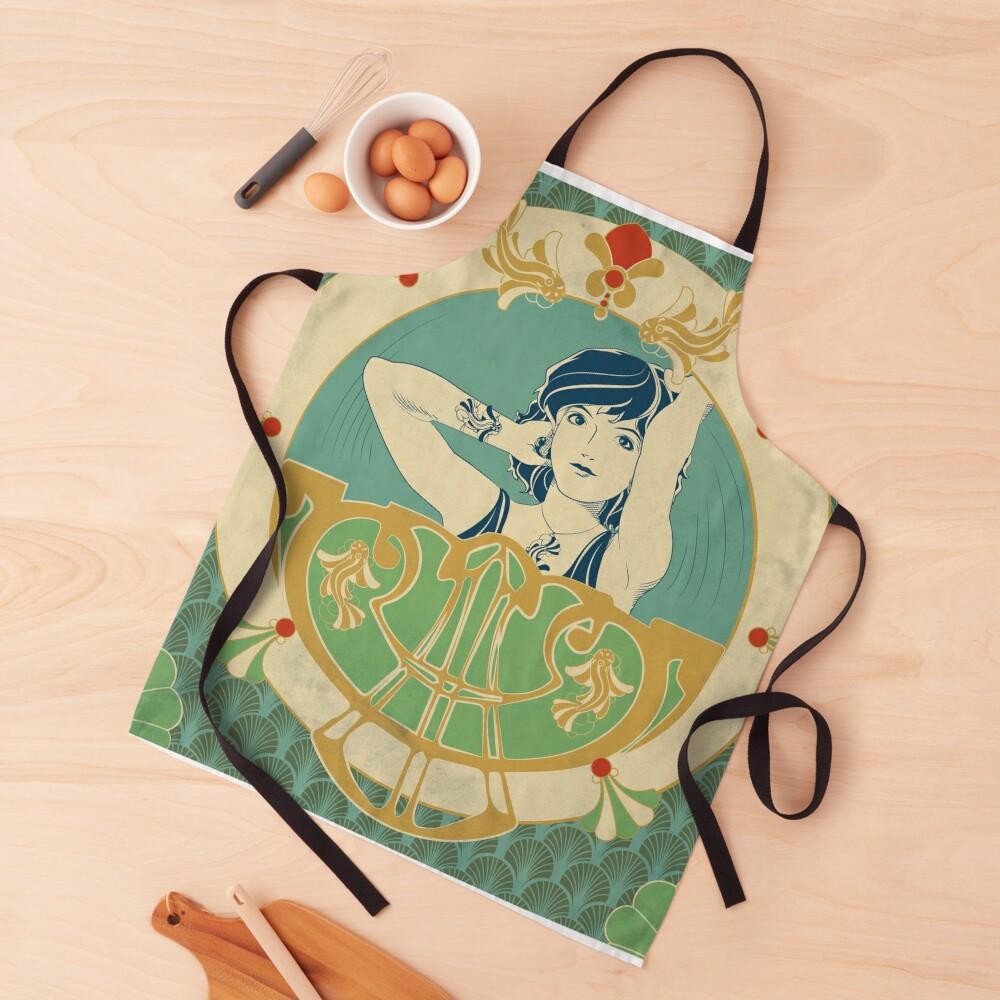 Tablier «Parure Poisson bleu - Illustration Art Nouveau»