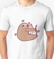 Faultier liebt Katze Slim Fit T-Shirt