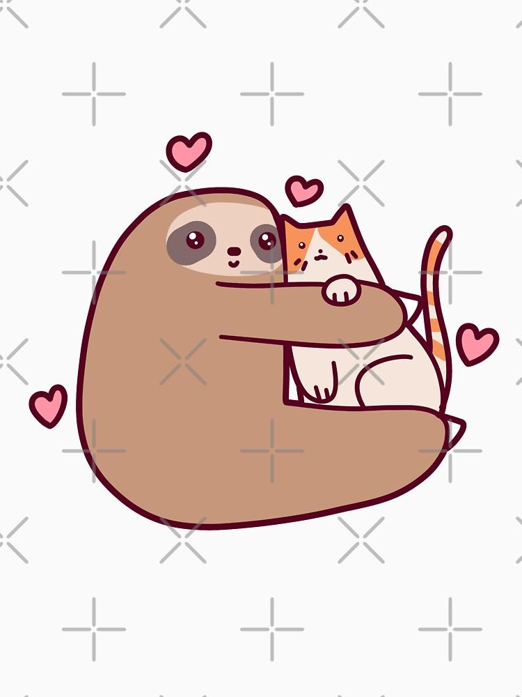 Sloth loves cat by saradaboru
